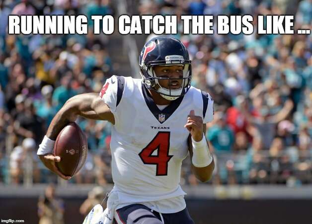 Houston Texans Week 7: Texans 20, Jaguars 7 Deshaun Watson had to take a bus to Jacksonville because his bruised lungs made it dangerous for him to fly, and he still lit up the Jaguars. Photo: Matt Young