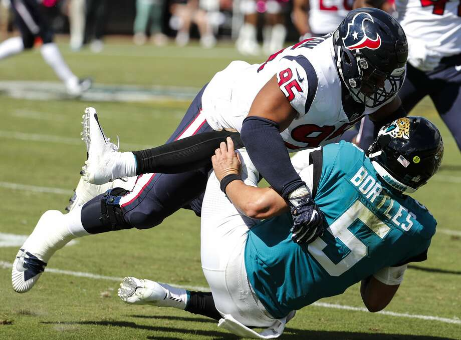 PHOTOS: NFL's best available free agents  Jacksonville Jaguars quarterback Blake Bortles (5) is tackled by Houston Texans defensive end Christian Covington (95) during the second quarter of an NFL football game at TIAA Bank Field on Sunday, Oct. 21, 2018, in Jacksonville. >>>See which players remain available during the NFL's 2019 free agency period ...  Photo: Brett Coomer/Staff Photographer