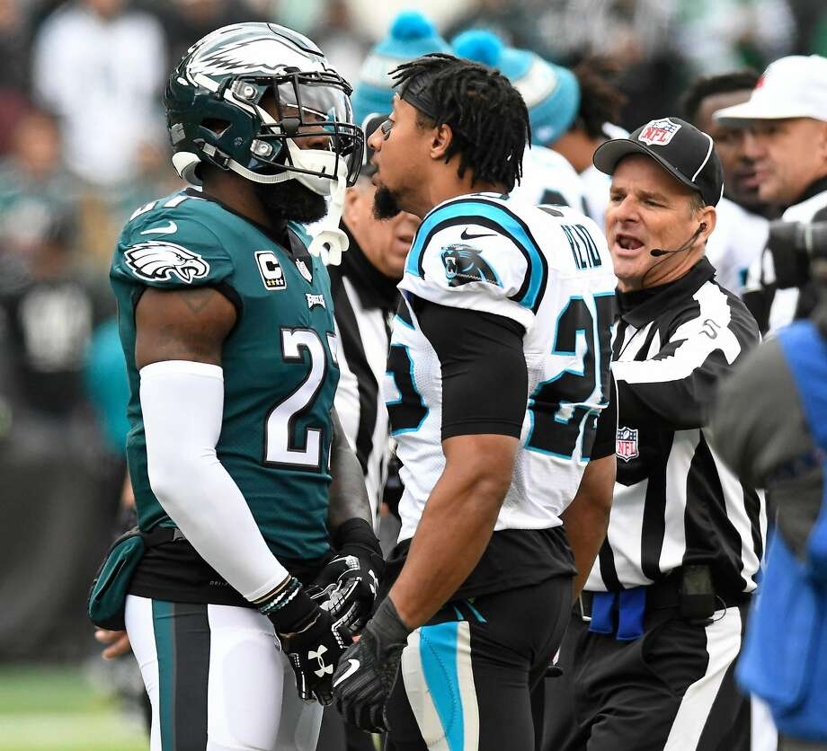 Panthers safety Eric Reid (right) has words for Eagles safety Malcolm  Jenkins prior to 7ff237baa