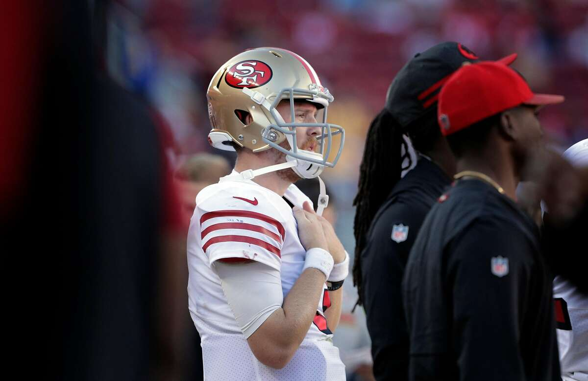 C. J. Beathard (3) on the sidelines in the final seconds of the game as the San Francisco 49ers played the Los Angeles Rams at Levi's Stadium in Santa Clara, Calif., on Sunday, October 21, 2018.