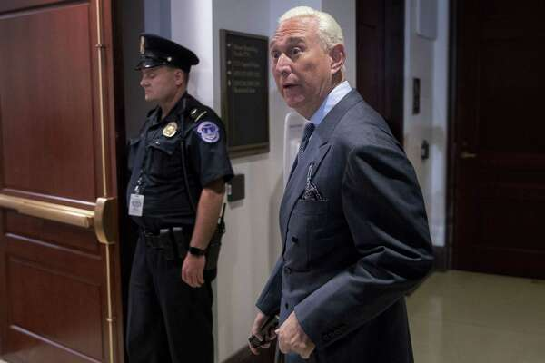Roger Stone, former adviser to Donald Trump's presidential campaign, arrives to a closed-door House Intelligence Committee hearing on Capitol Hill in Washington, D.C., Sept. 26, 2017.