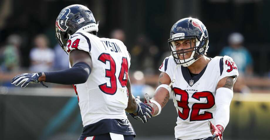 PHOTOS: Texans vs. Broncos  Houston Texans defensive back Mike Tyson (34) and free safety Tyrann Mathieu (32) celebrate the Texans stopping the Jacksonville Jaguars on fourth down during the fourth quarter of an NFL football game at TIAA Bank Field on Sunday, Oct. 21, 2018, in Jacksonville. >>>Look back at game action from the Texans' sixth straight win - a victory over the Broncos ...  Photo: Brett Coomer/Staff Photographer