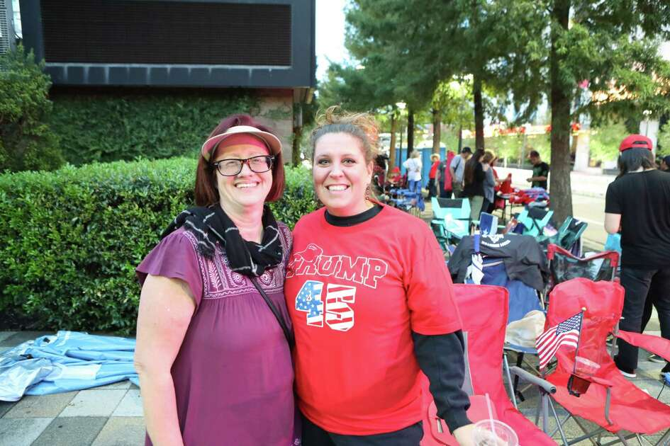 Lisa Brewer and her daughter-in-law Jami Brewer were the first in line, 10 a.m. Sunday, hours before President Donald Trump's rally Monday night at Toyota Center Sunday, Oct. 21, 2018, in Houston.