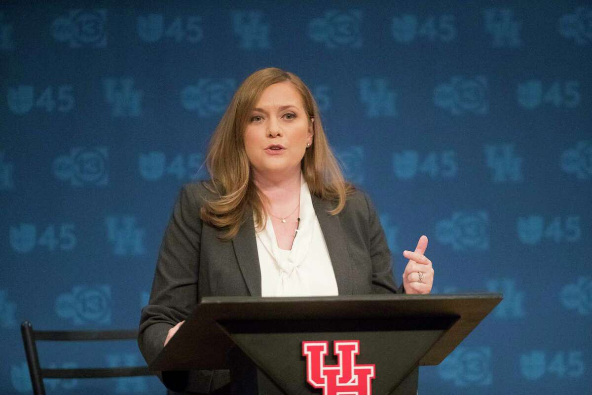 Democrat Lizzie Pannill Fletcher debates her opponent, Republican U.S. Rep. John Culberson, at the University of Houston, Sunday, Oct. 21, 2018, in Houston. The candidates are for U.S. Congress in Houston's Congressional District 7.