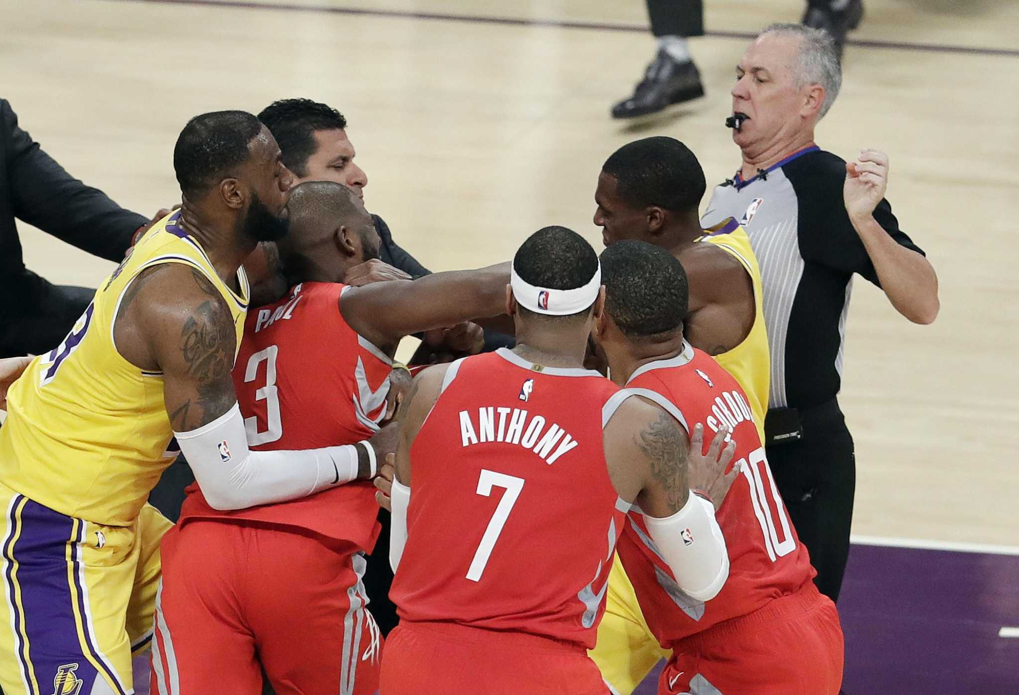 88693ececc8a Rockets not happy with Chris Paul s two-game suspension after fight with  Lakers