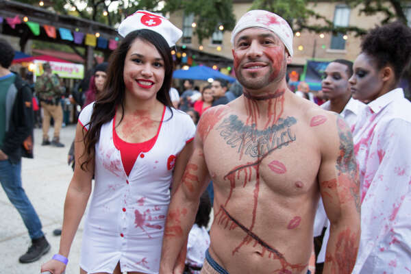 People rose from the dead on Sunday at the historic La Villita during the San Antonio Zombie Walk on October 21, 2018.