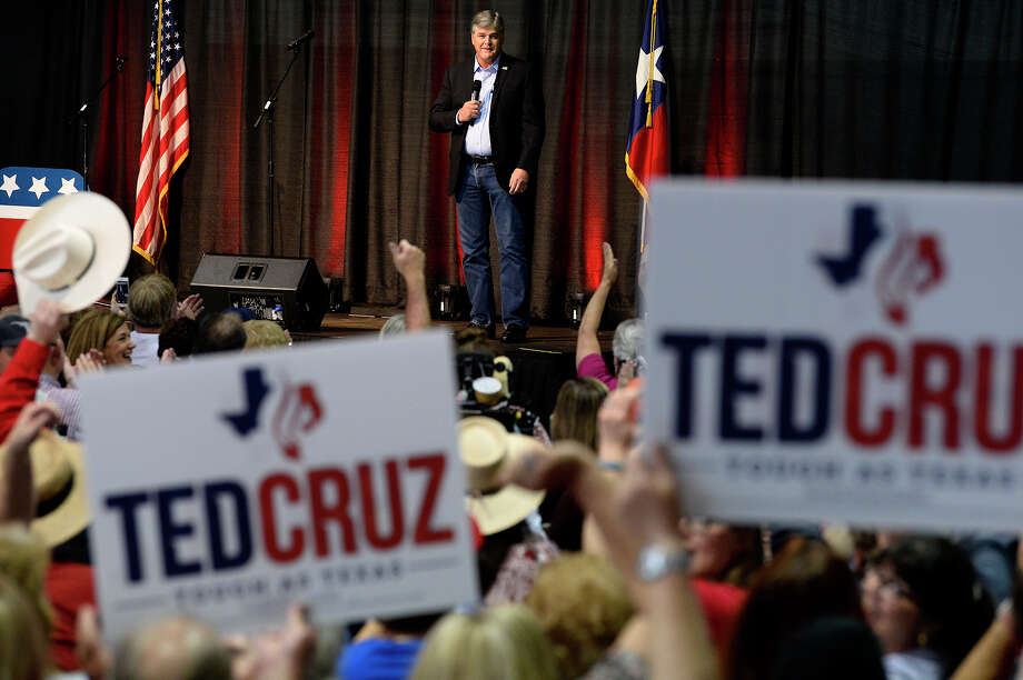 Fox News host Sean Hannity speaks during a campaign rally for Sen. Ted Cruz in a hangar at the Jack Brooks Regional Airport on Saturday. Cruz, a Republican, is running for re-election against Democratic Rep. Beto O'Rourke.  Photo taken Saturday 10/20/18 Ryan Pelham/The Enterprise Photo: Ryan Pelham/The Enterprise / ?2018 The Beaumont Enterprise