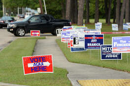 Election signs dot Rogers Park in Beaumont Monday as early election voters begin turning out. Photo taken Monday, 10/22/18