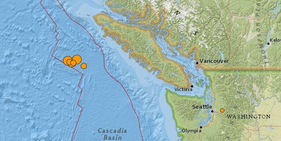 A series of significant quakes struck overnight off the coast of Vancouver Island in the Pacific ocean. Photo: USGS