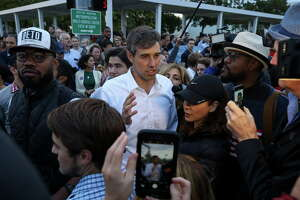 U.S. Senate candidate Beto O'Rourke greets supporters and early voters outside the Metropolitan Multi-Services Center on West Gray Street Monday, Oct. 22, 2018, in Houston.