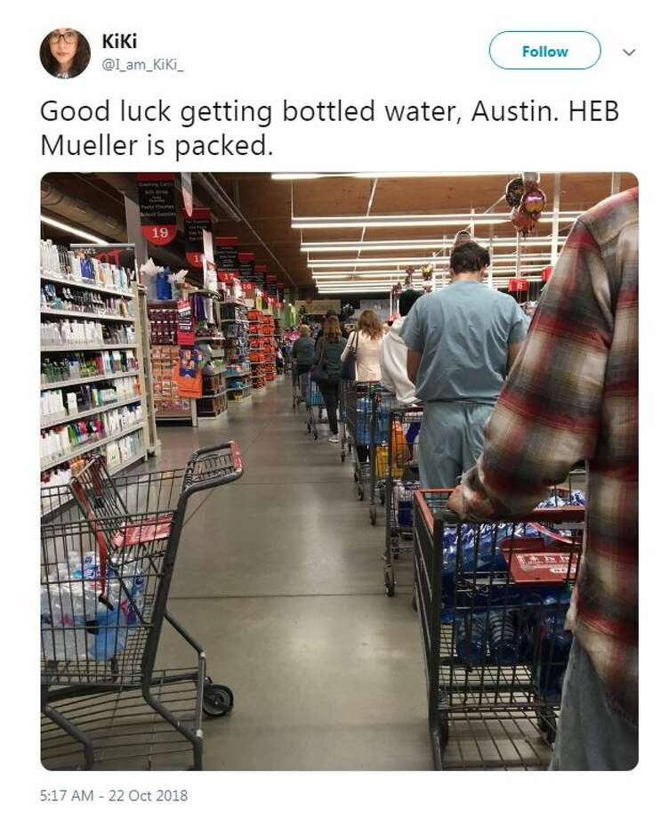Grocery stores sold out of water quickly after a boil water notice was issued for Austin residents on Monday, Oct. 22, 2018. Photo: Twitter