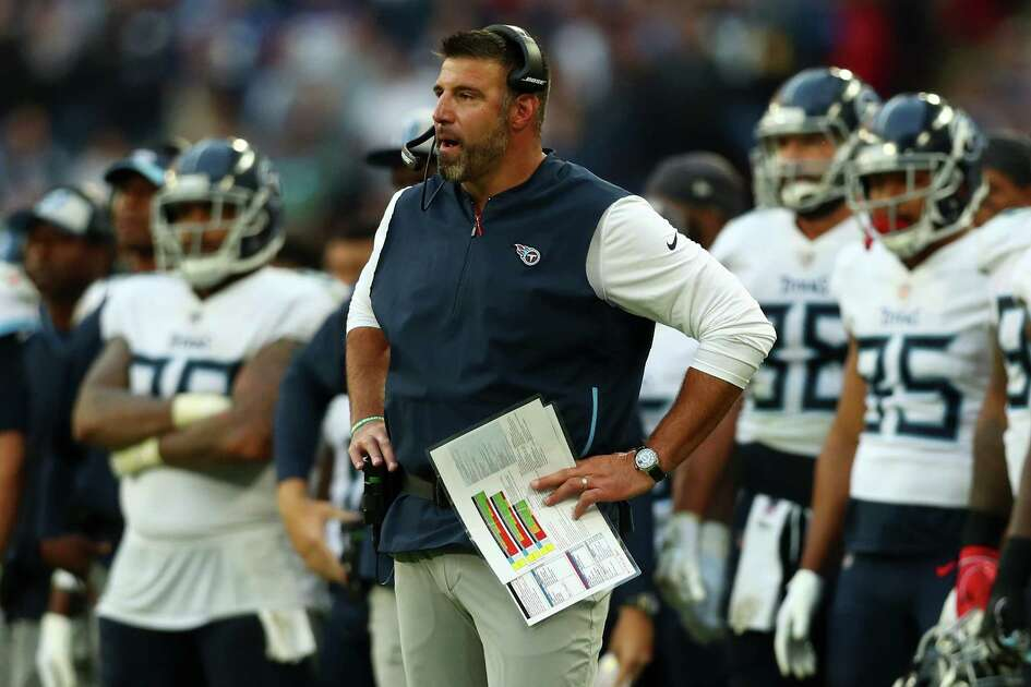 LONDON, ENGLAND - OCTOBER 21: Mike Vrabel of Tennessee Titans looks on during the NFL International Series match between Tennessee Titans and Los Angeles Chargers at Wembley Stadium on October 21, 2018 in London, England.
