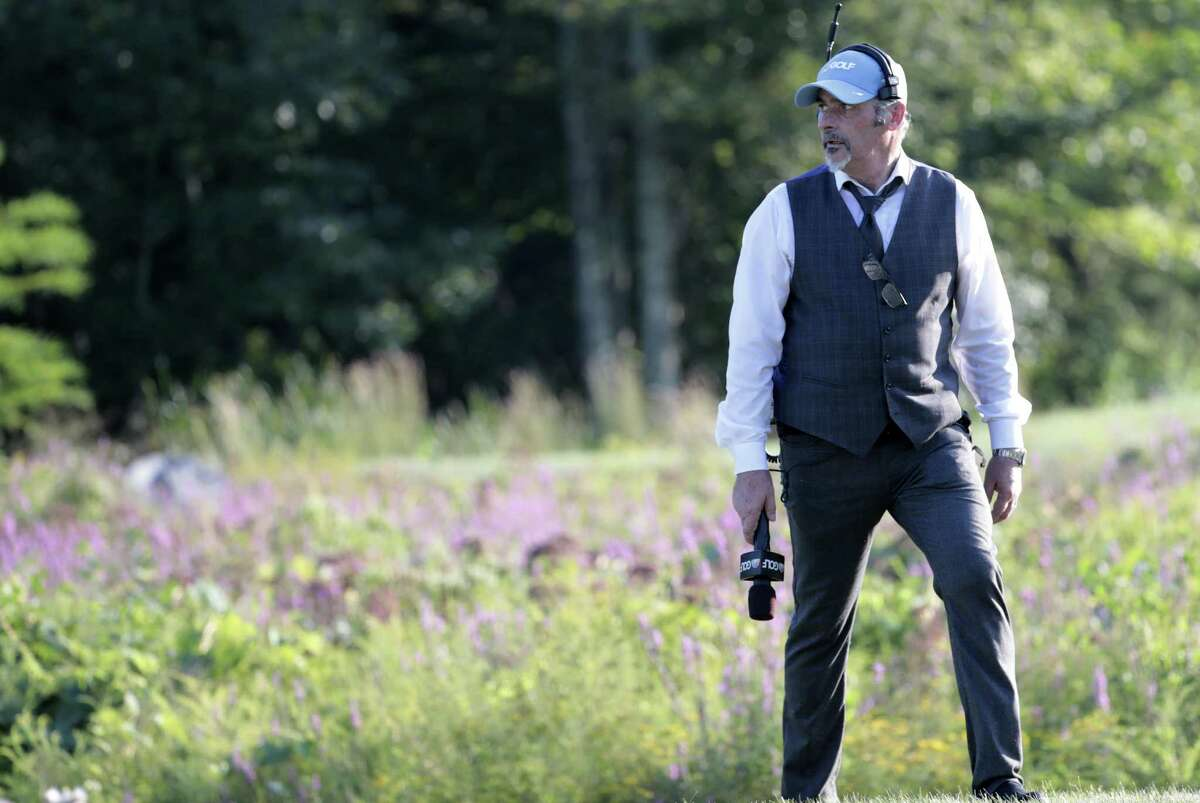 """NBC Golf's analyst David Feherty on the 18th hole during the final round of the Dell Technologies Championship on Sept. 3, at TPC Boston in Norton, Massachusetts. Feherty mines his more than 20-year career in professional golf - as a player and analyst - for his one-man show Wandering Around on His Own,"""" the tour of which rolls into Stamford's Palace Theatre Oct. 25."""