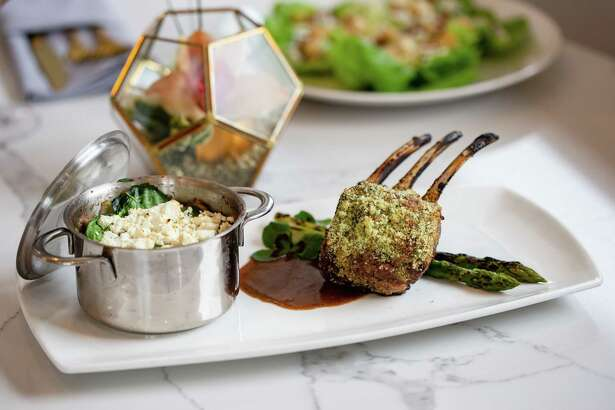 Rack of lamb with goat cheese and lamb neck Shepherd's Pie at Bisou.