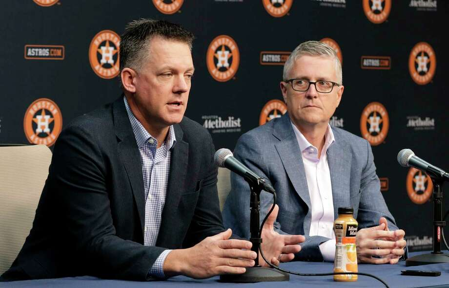 PHOTOS: A look at Monday's Astros press conference Houston Astros Manager A.J. Hinch, left, speaks during a press conference as President of Baseball Operations and General Manager Jeff Luhnow, right, listens at Minute Maid Park Monday, Oct. 22, 2018 in Houston, TX.at Minute Maid Park Monday, Oct. 22, 2018 in Houston, TX. Photo: Michael Wyke, Contributor / © 2018 Houston Chronicle
