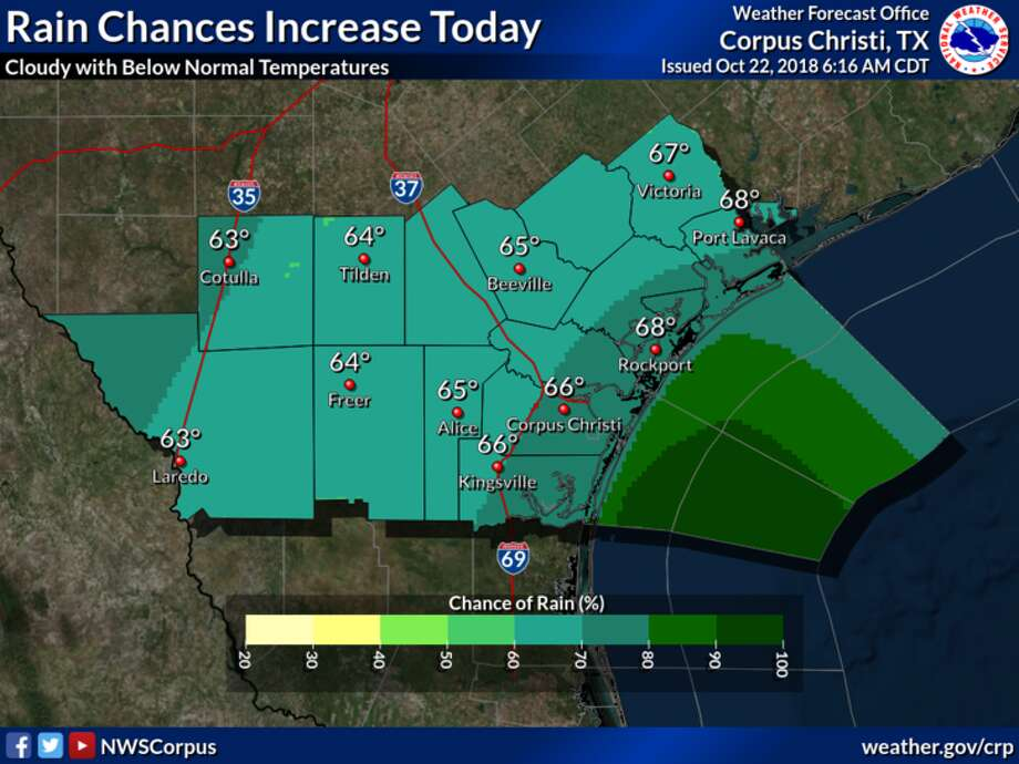 The National Weather Service said that rain chances will increase today across South Texas as a coastal trough develops over the western Gulf of Mexico and an upper level disturbance approaches. Photo: National Weather Service