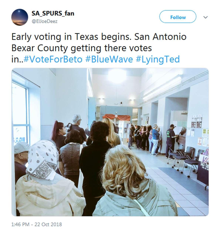 @ElJoeDeez: Early voting in Texas begins. San Antonio Bexar County getting there votes in..#VoteForBeto #BlueWave #LyingTed