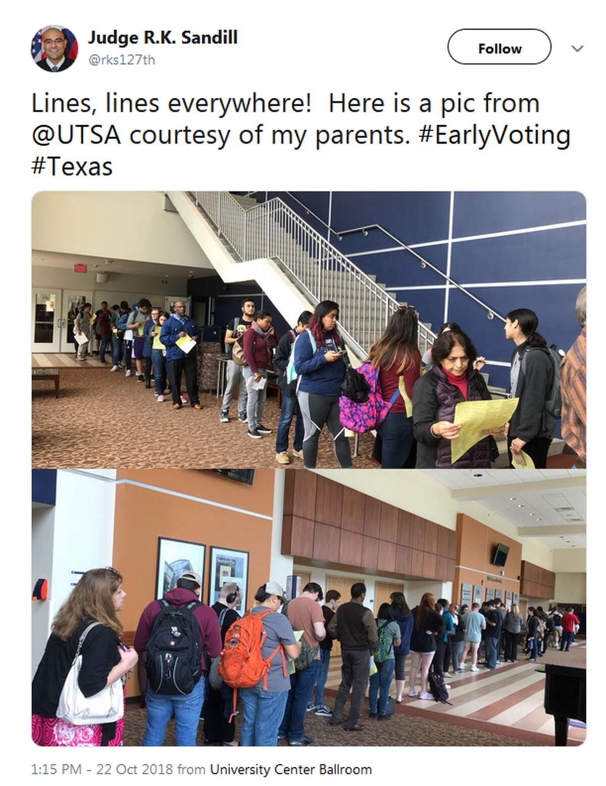 @rks127th: Lines, lines everywhere! Here is a pic from @UTSA courtesy of my parents. #EarlyVoting #Texas