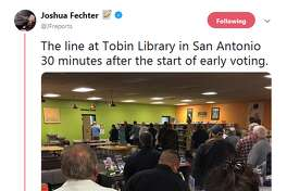 @JFreports: The line at Tobin Library in San Antonio 30 minutes after the start of early voting.