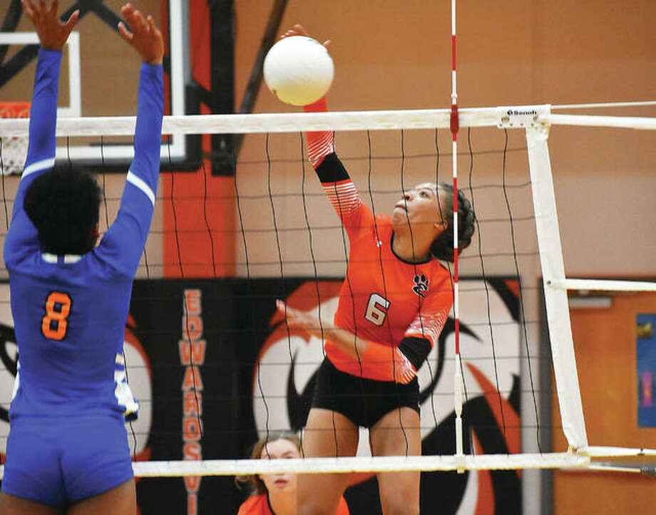 Edwardsville's Alexa Harris slams down a kill during a regular season match against East St. Louis inside Lucco-Jackson Gymnasium. Photo: Matt Kamp/Intelligencer