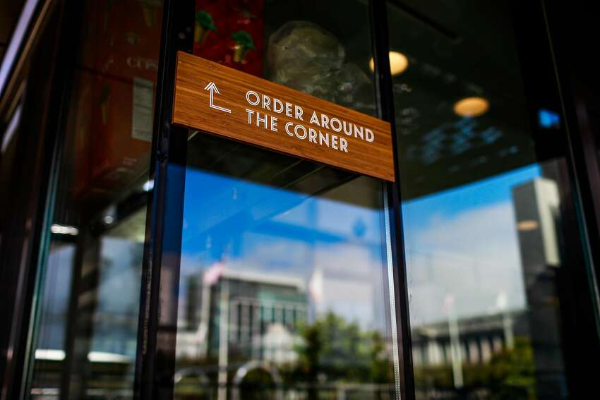 A placard for ordering is seen at the new Bi-Rite cafe at Civic Center in San Francisco, California, on Sunday, Oct. 21, 2018.