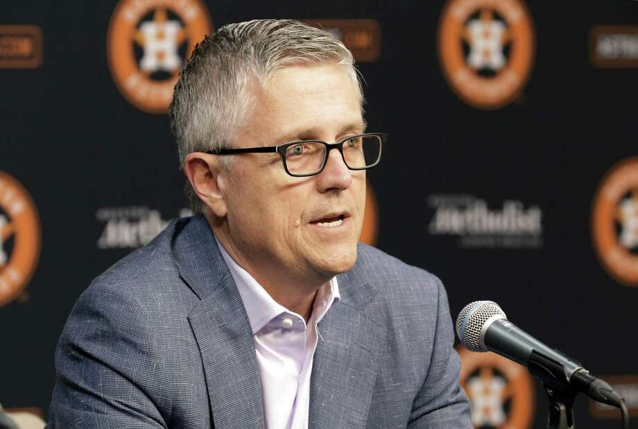 PHOTOS: Best MLB free agents this offseason  Houston Astros President of Baseball Operations and General Manager Jeff Luhnow speaks during a press conference with Manager A.J. Hinch at Minute Maid Park Monday, Oct. 22, 2018 in Houston, TX. >>>Browse through the photos for a look at the best MLB free agents this offseason ...  Photo: Michael Wyke, Houston Chronicle / Contributor / © 2018 Houston Chronicle