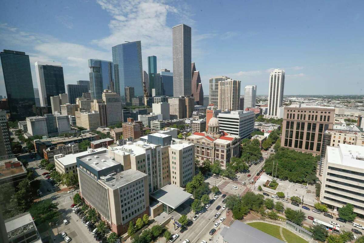The Houston skyline photographed from the 17th floor of the Harris County Civil Courthouse, 201 Caroline. Houston was named No. 5 of best value destinations by Lonely Planet.