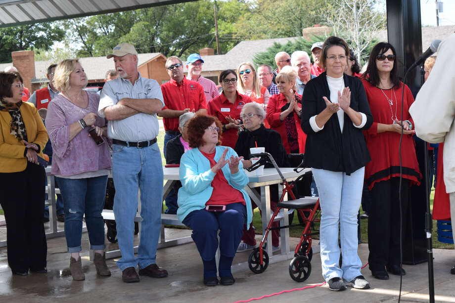 City leaders, civic leaders, donors and community members celebrated the competition of the Travis Trussell Pond with a ribbon cutting event on Friday. Photo: Ellysa Harris/Plainview Herald