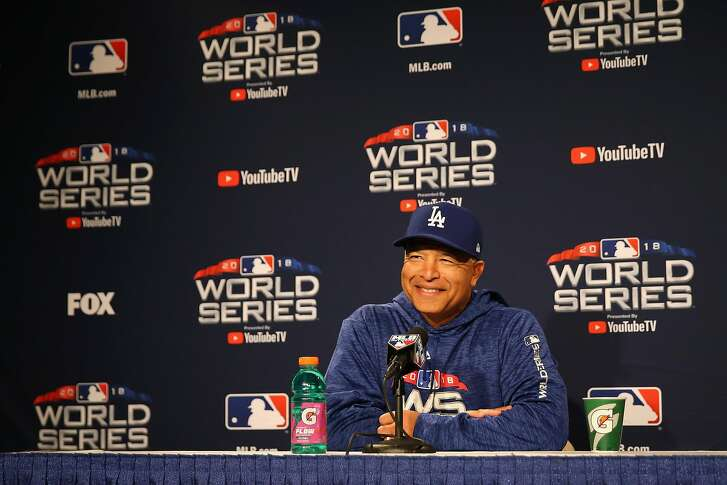 BOSTON, MA - OCTOBER 22:  Manager Dave Roberts of the Los Angeles Dodgers speaks with the media during media availability ahead of the 2018 World Series against the Boston Red Sox at Fenway Park on October 22, 2018 in Boston, Massachusetts.  (Photo by Maddie Meyer/Getty Images)