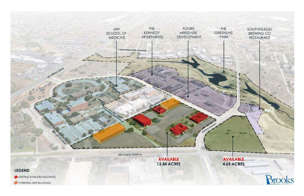 A rendering showsOkin BPS' potential footprint at the Brooks mixed-use development on San Antonio's South Side.