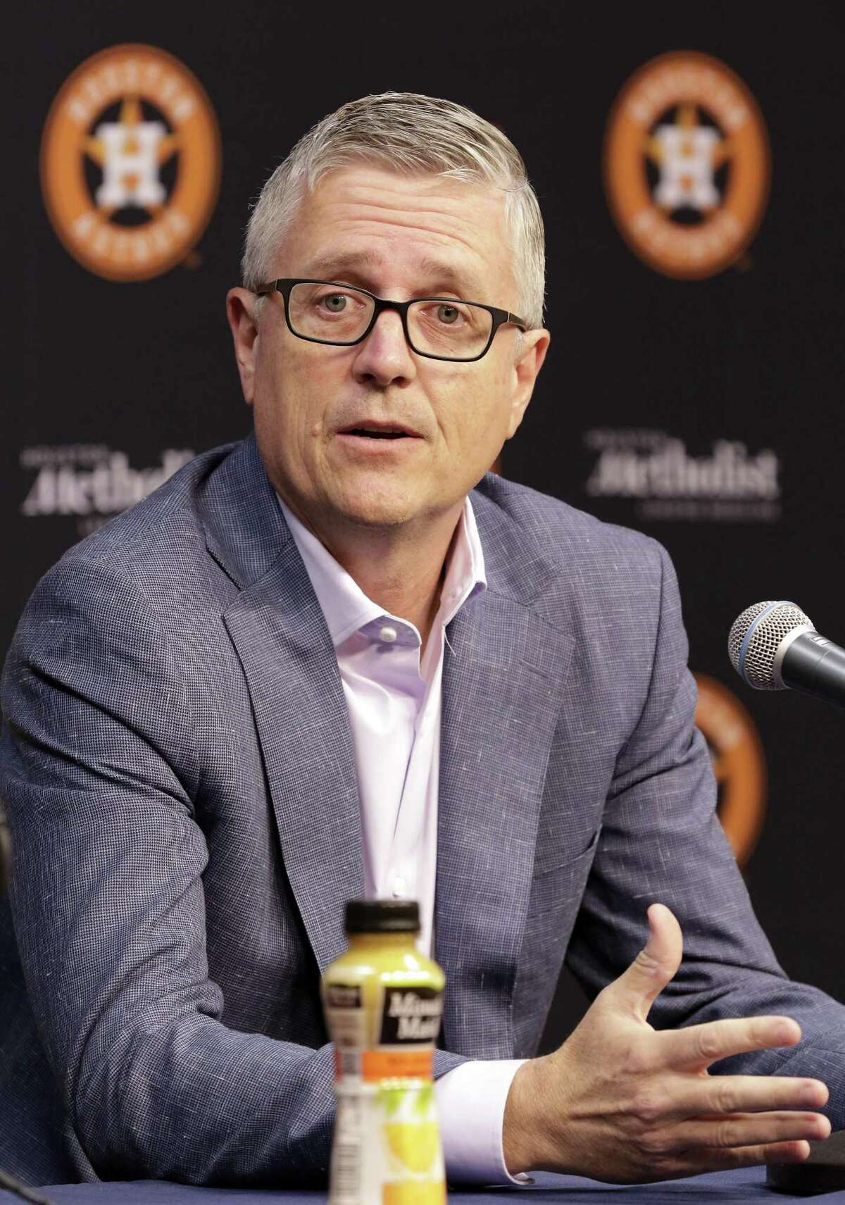 Houston Astros President of Baseball Operations and General Manager Jeff Luhnow speaks during a press conference with Manager A.J. Hinch at Minute Maid Park Monday, Oct. 22, 2018 in Houston, TX.
