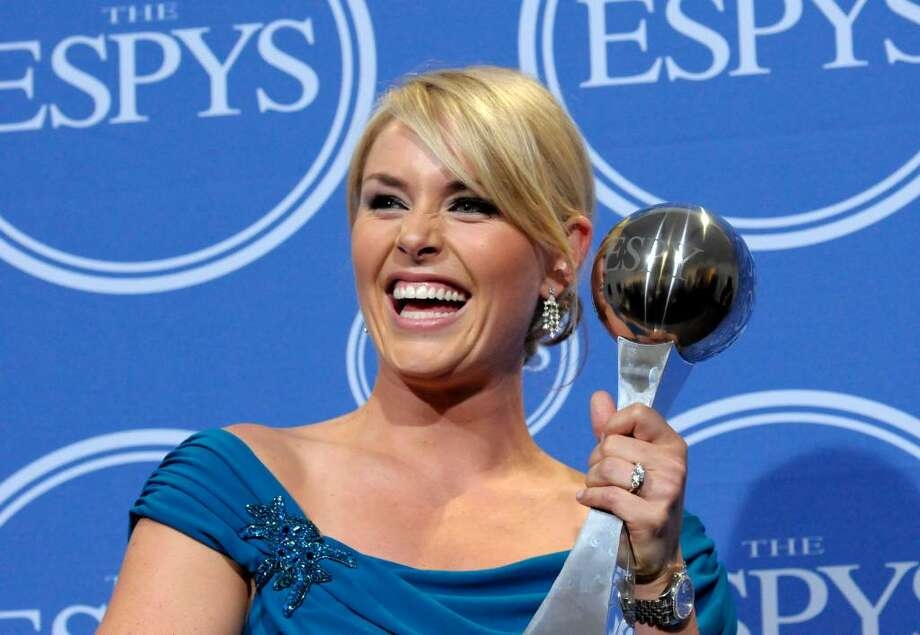 Lindsey Vonn poses with the award for Best Female Athlete in the press room at the ESPY Awards on Wednesday, July 14, 2010 in Los Angeles. Photo: Dan Steinberg