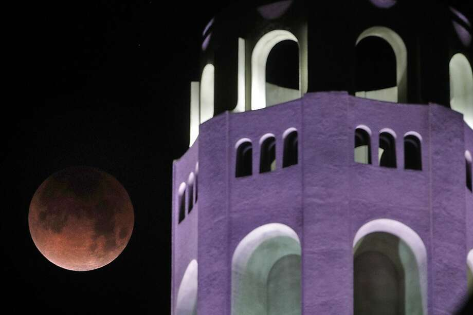 The Super Blue Blood Moon makes its way past Coit Tower in San Francisco, Calif., on Wednesday, January 31, 2018. Photo: Carlos Avila Gonzalez, The Chronicle