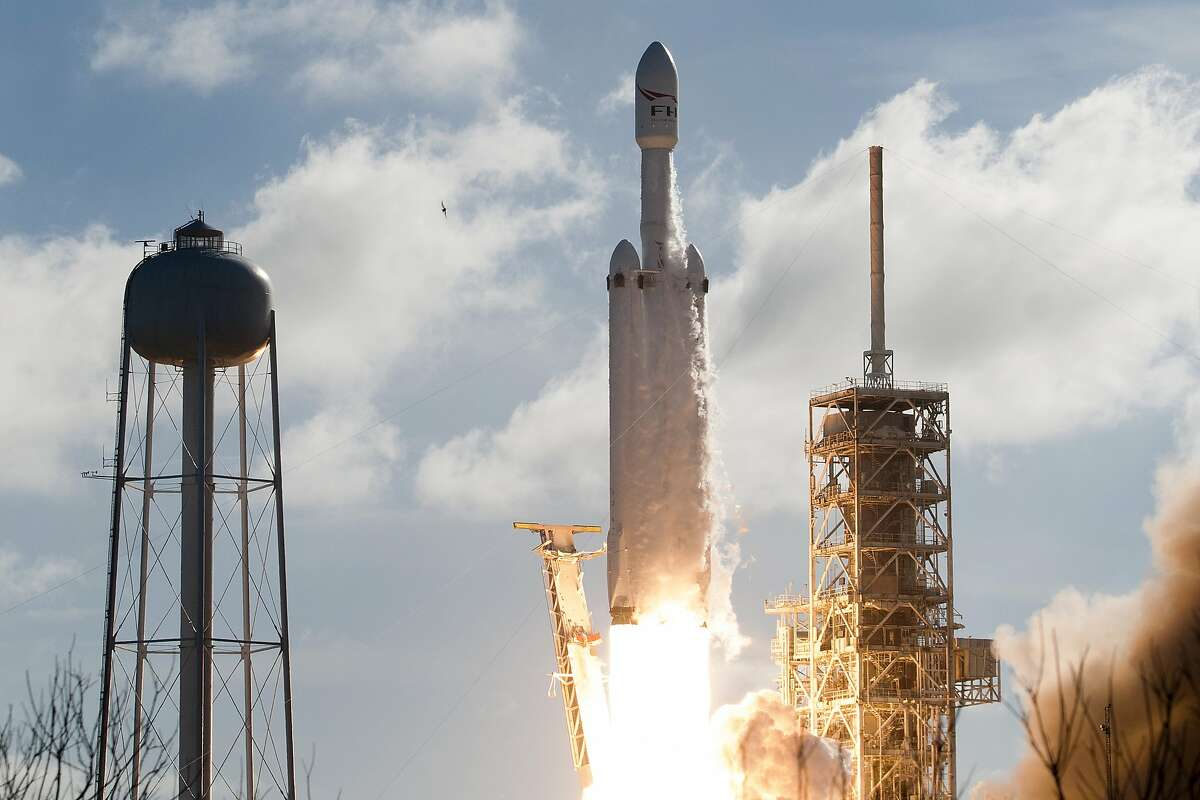 The SpaceX Falcon Heavy launches from Pad 39A at the Kennedy Space Center in Florida in February 2018 on its demonstration mission.