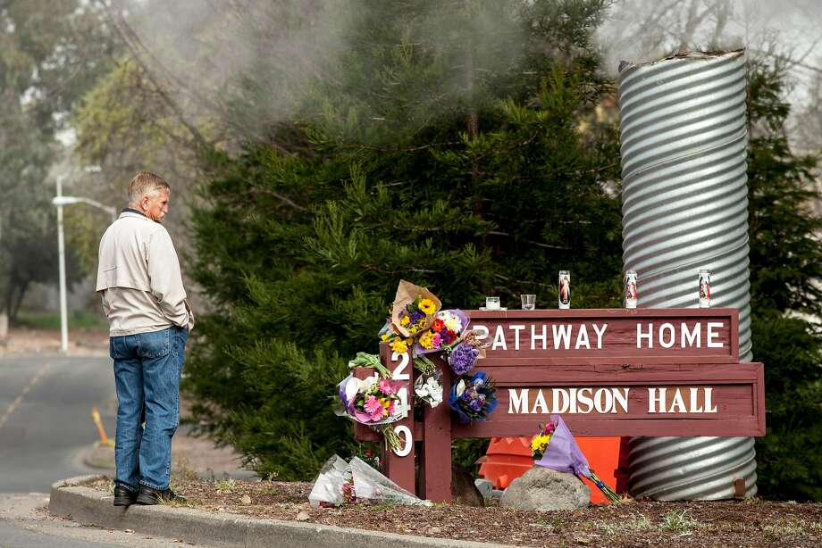 The make shift memorial at the Pathway Home, where three employees were killed by a former patient on March 9, 2018 in Yountville. Photo: Peter DaSilva, Special To The Chronicle