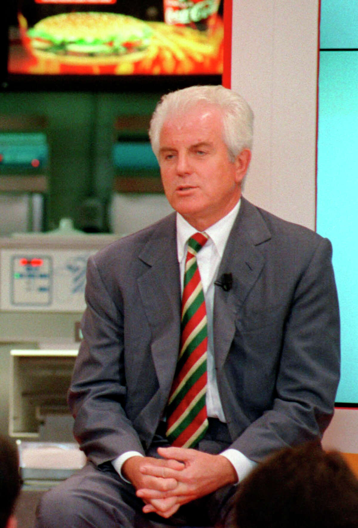 FILE -- OBIT - In this June 7, 1999 file photo, Gilberto Benetton attends the inauguration of the first Italian Burger King store in Milan, Italy. Gilberto Benetton, co-founder of the Benetton Group, died Monday, Oct. 22, 2018. (AP Photo/Maki Galimberti, file)