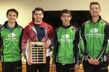 Pictured is Midland Open Bonspiel champion Team Strouse: (from left) Sam Strouse, skip; Aaron Carlson, vice-skip; Nick Soto, second; Sam Willertz, lead.