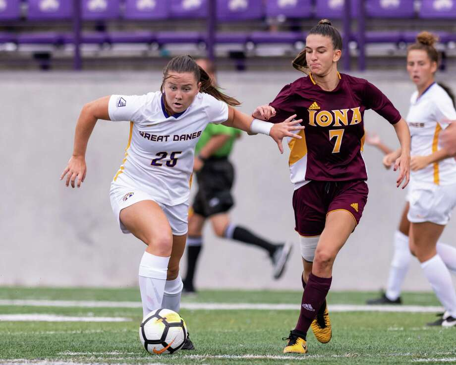 Shenendehowa High graduate Meghan Cavanaugh, left, of the UAlbany women's soccer team. (Courtesy of UAlbany) Photo: Bill Ziskin / Copyright Bill Ziskin, all rights reserved.