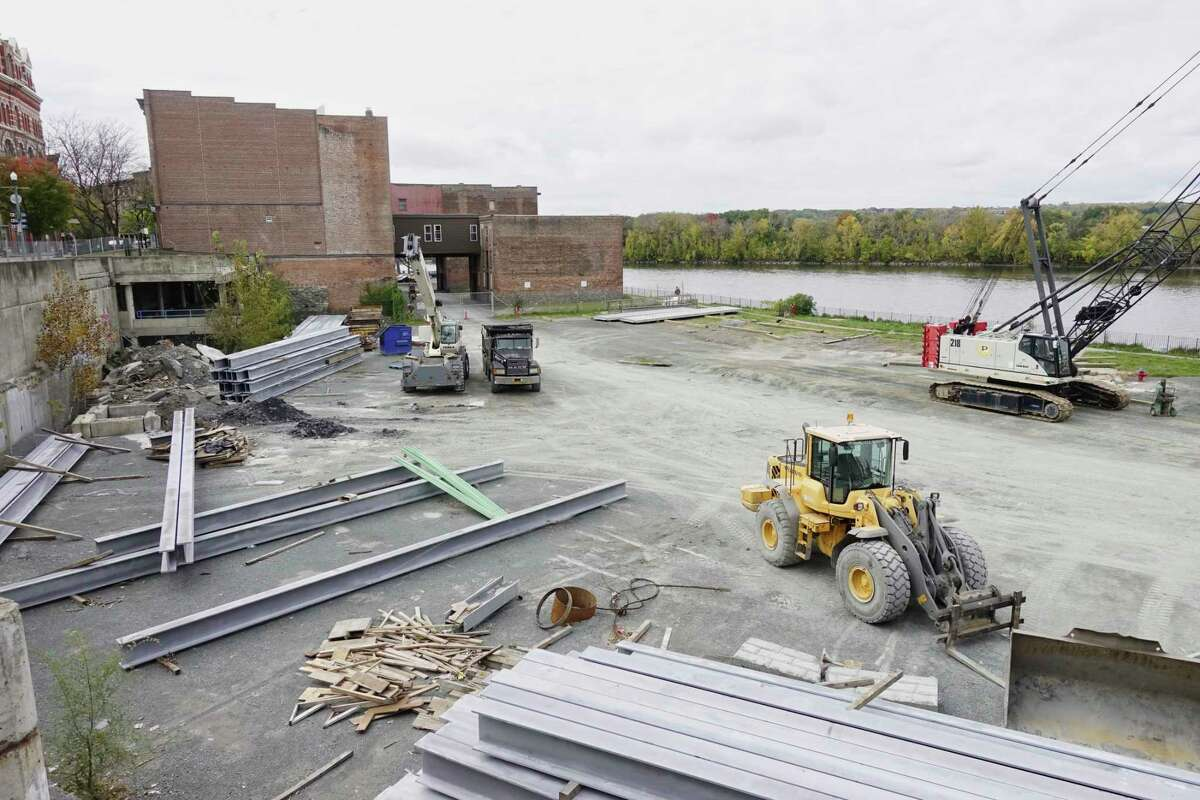 A view of the 1 Monument Square site on Monday, Oct. 22, 2018, in Troy, N.Y. The site is being used to stage equipment and supplies for the sea wall project along the Hudson River in Troy. (Paul Buckowski/Times Union)