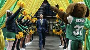"""Siena men's basketball head coach Jamion Christian arrives for the annual """"Sneak Preview"""" Monday Oct. 22, 2018 at the Times Union Center."""