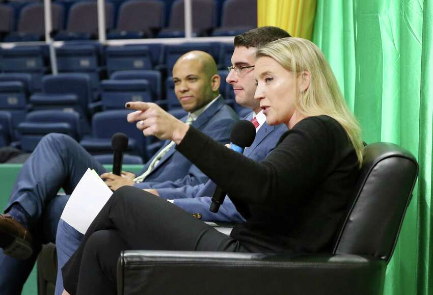 Siena women's basketball head coach Ali Jaques talks about the upcoming season during the Siena Basketball ?