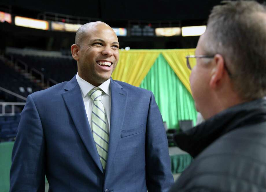 "Siena men's basketball head coach Jamion Christian smiles as he talks to fans during the Siena Basketball ""Sneak Preview"" Monday Oct. 22, 2018 at the Times Union Center. Photo: Phoebe Sheehan"