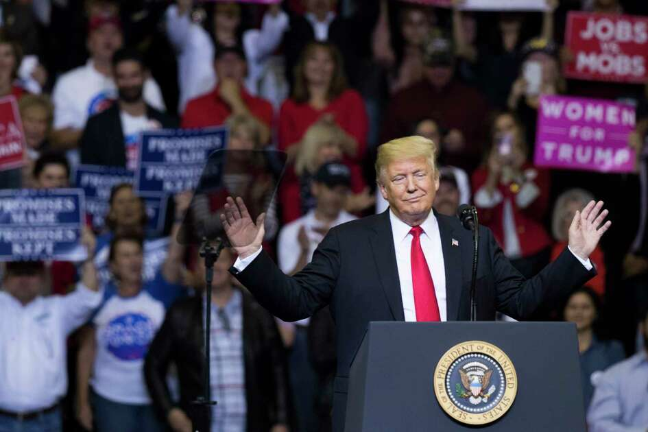 President Donald Trump rallies his supporters in Houston encouraging them to vote and re-elect Senator Ted Cruz during a MAGA Rally at the Toyota Center, Monday, Oct. 22, 2018, in Houston.