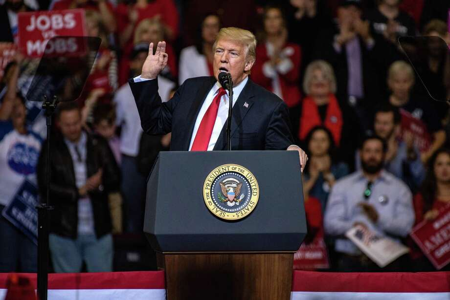 """U.S. President Donald Trump speaks during a campaign rally with Senator Ted Cruz, a Republican from Texas, not pictured, in Houston, Texas, U.S., on Monday, Oct. 22, 2018. Trumpdeclared that he's a """"nationalist"""" at the rally as he appealed to Texas Republicans to re-elect Cruzand help the party keep control of Congress. Photographer: Sergio Flores/Bloomberg Photo: Sergio Flores / Bloomberg / © 2018 Bloomberg Finance LP"""