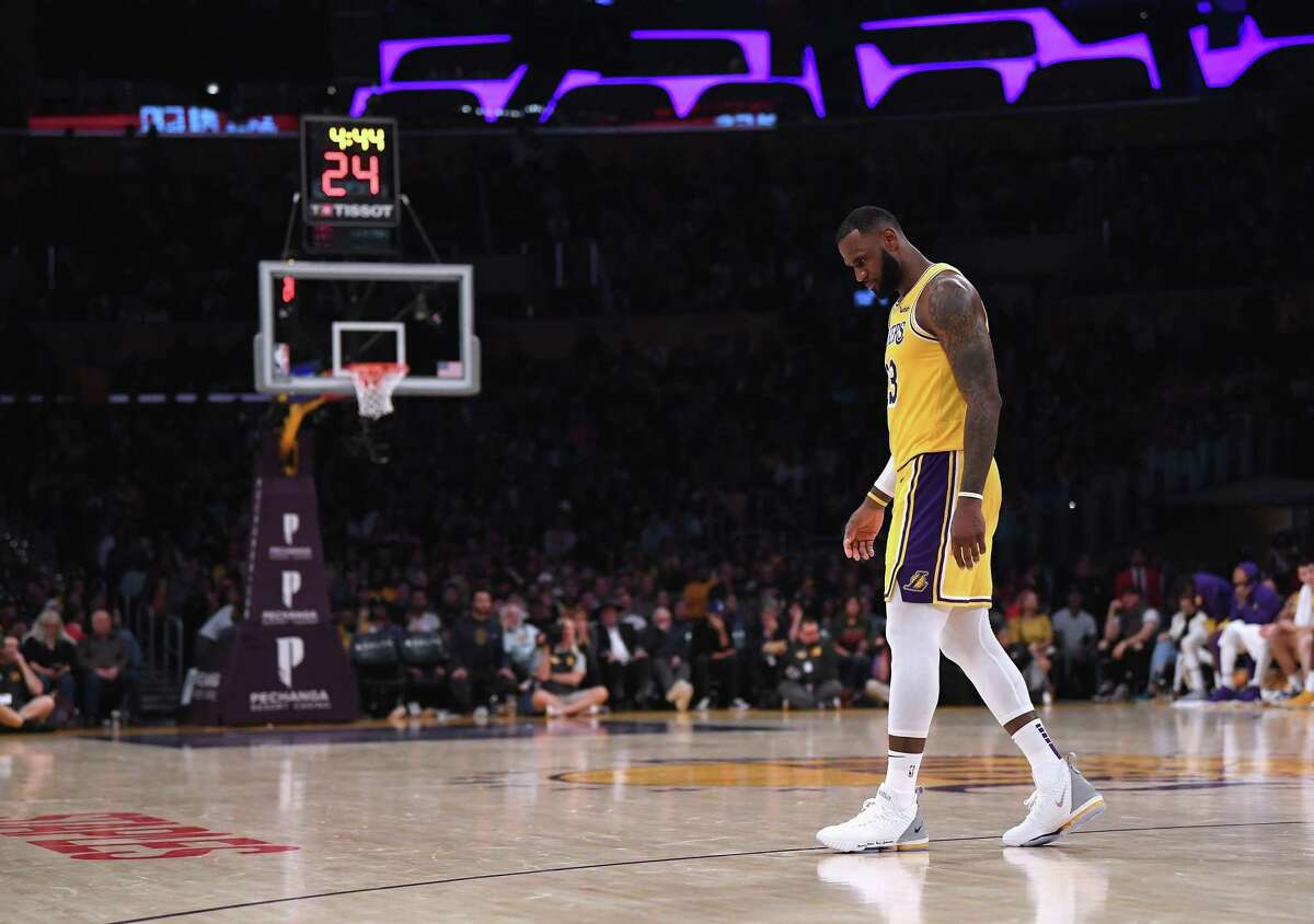 LOS ANGELES, CA - OCTOBER 22: LeBron James #23 of the Los Angeles Lakers during a 143-142 loss to the San Antonio Spurs at Staples Center on October 22, 2018 in Los Angeles, California. (Photo by Harry How/Getty Images)