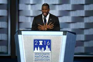 Andrew Gillum, mayor of Tallahassee, speaks during the Democratic National Convention (DNC) in Philadelphia on July 27, 2016.