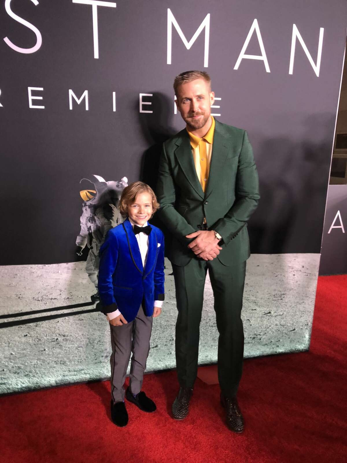 """Houston native actor Gavin Warren poses with co-star Ryan Gosling for a private screening of """"First Man."""""""