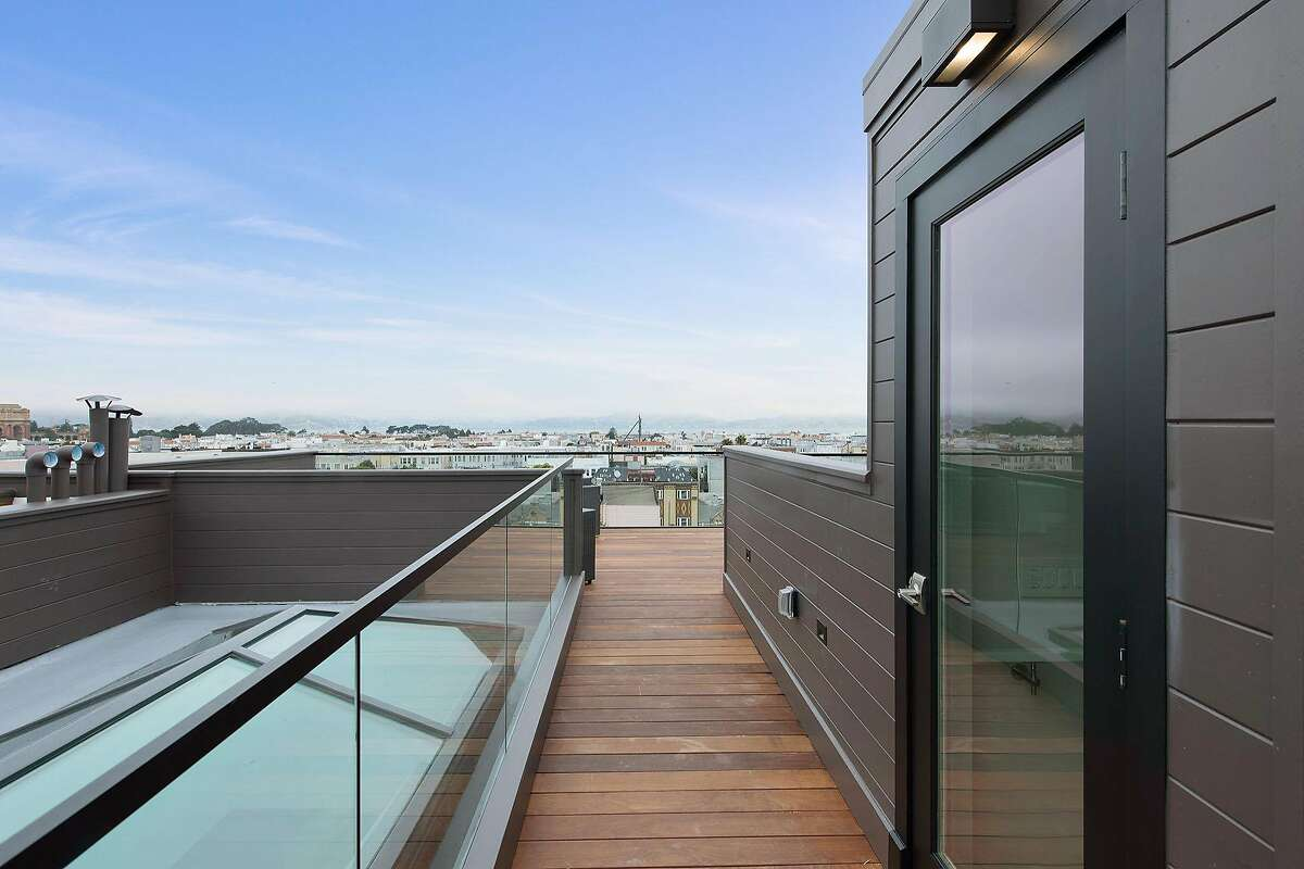 An Ipe roof deck with panoramic views crowns the Cow Hollow home.