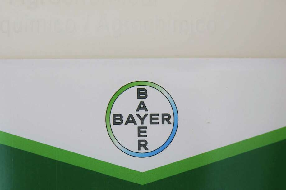 The Bayer AG logo sits on a Bayer Cropscience crop protection product at a farm in Abbenes, Netherlands. Photo: Bloomberg Photo By Yuriko Nakao / © 2018 Bloomberg Finance LP