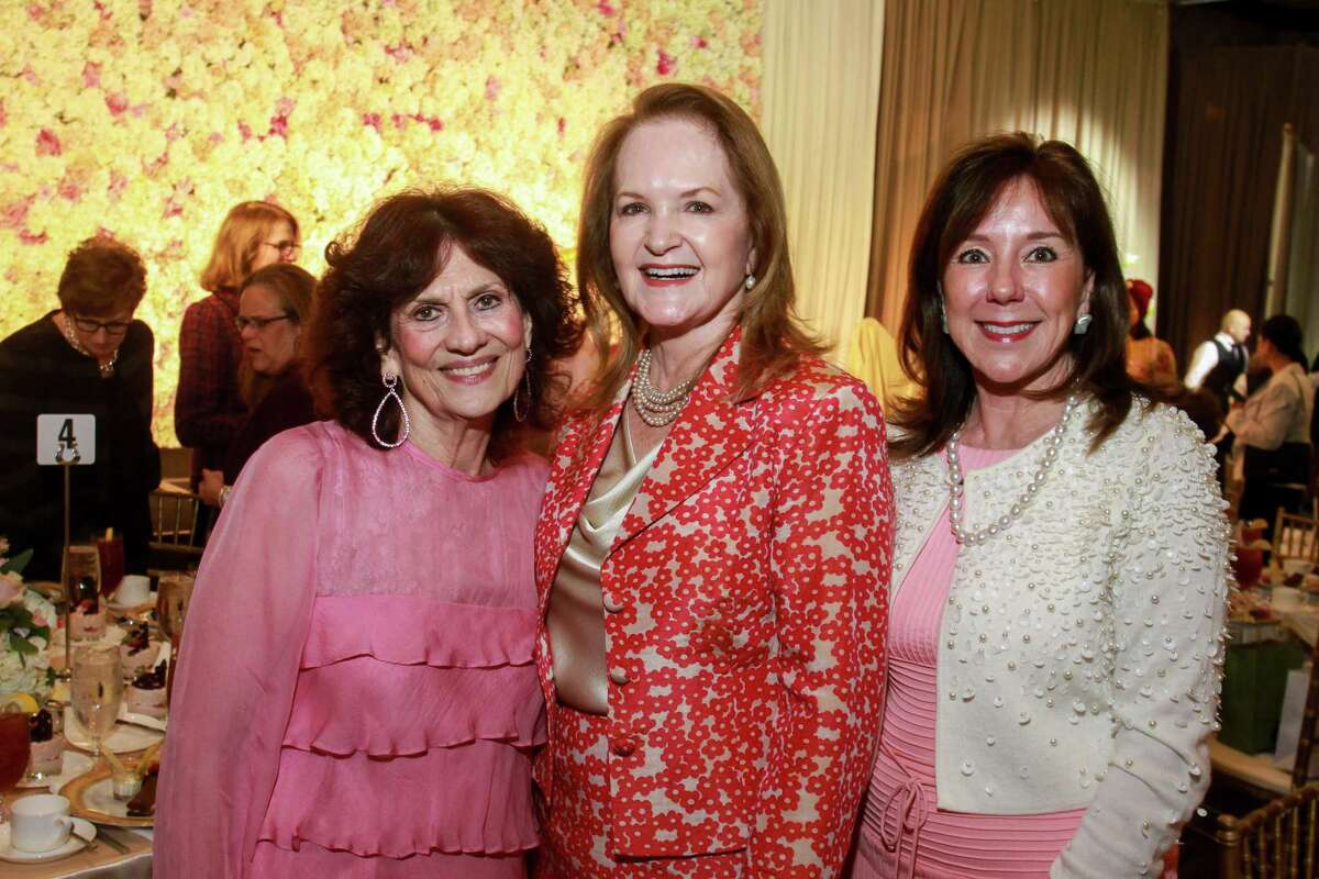 Donna Vallone, from left, Sandy Barrett and Elizabeth Stein at the Razzle Dazzle, Memorial Hermann's annual breast cancer luncheon.